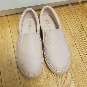 Baby pink slip on sneakers